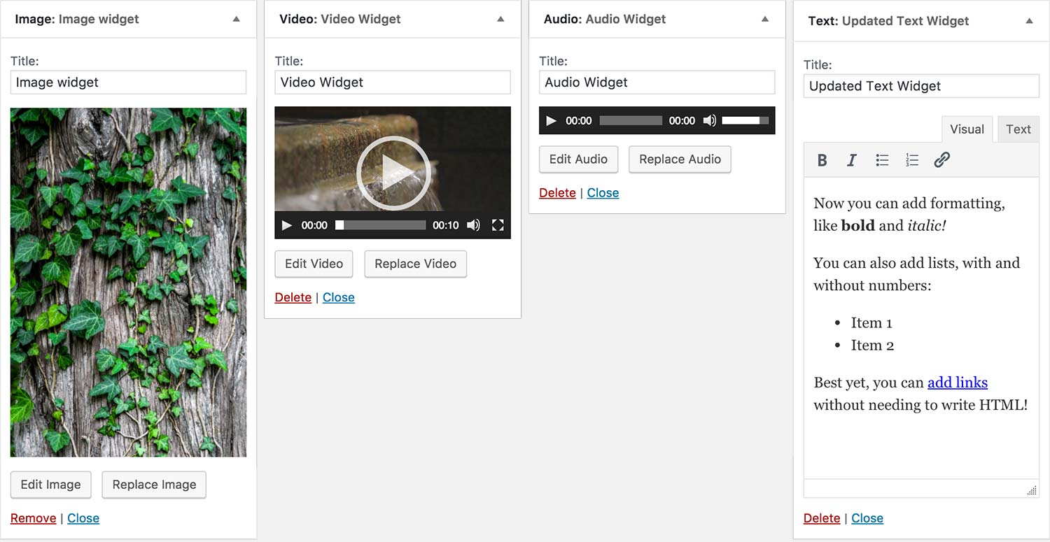 New widgets in WordPress 4.8